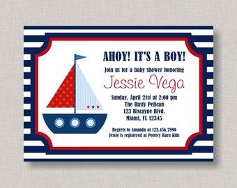 Nautical Baby Shower Invitation, Nautical Invitation, Printable, DIY