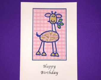 Giraffe Applique Birthday card