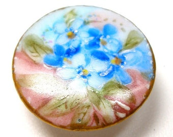 """1900s Antique Porcelain Button, Edwardian china stud with hand-painted flowers 7/8""""."""