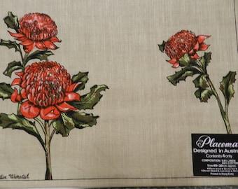 PLACEMATS  WARATAH  Flower Australian Table Linen