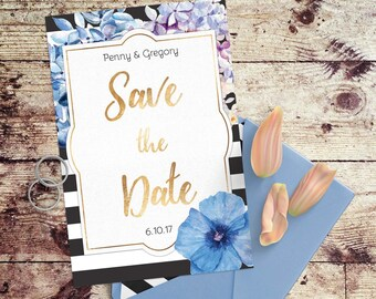 Stripes & Flowers, Modern Wedding Suite -- Customized, Printable Wedding Invites
