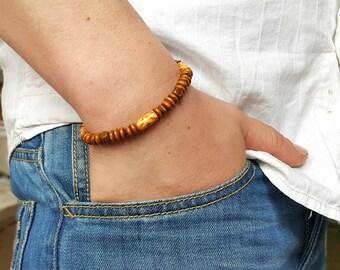 WOOD BRACELET Beaded Bracelet Mens Beaded Bracelet Surfer Bracelet Mens Jewelry Men Wood Bracelet Natural Wood Bracelet Mens wood bracelet