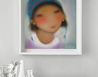Abstract face art, painting child figurative art, whimsical happy wall art, kids room decor, small prints giclee canvas, Canadian art