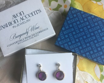NIB Vintage Avon Burgundy Wine Convertible Pierced Earrings, 1979