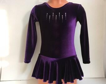 Long Sleeve Velvet Skating Dress - Sizes: 2T, 3T, Girls 4 - 16, Adult XS - XL