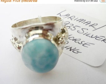 """MOTHERS DAY SALE Stunning Genuine Aaa Grade Larimar Men's """"Seahorse"""" Ring .925 Sterling Silver  Free U.S. Shipping  U.S. Size 11 1/2"""