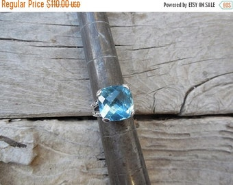 ON SALE Gorgeous Swiss blue topaz ring handmade sterling silver