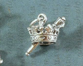 Sterling Silver - Crown and Scepter Charm - Mardi Gras - 13x18mm - Sold Per Piece