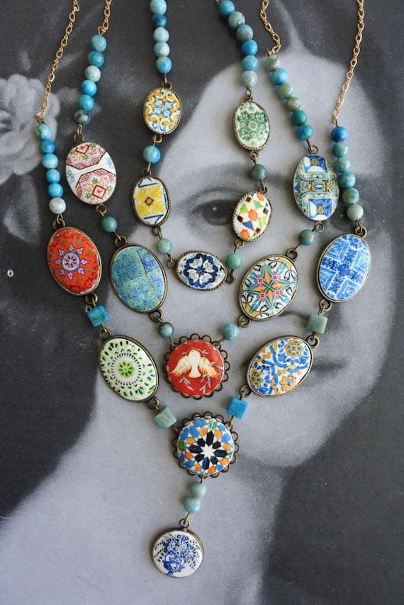 Layered Necklace Portugal Azulejo Tile Necklace 3 in One Convertable  Bib STATEMENT OOAK Majolica Mosaic Ethnic Persian 14k Gold Chains