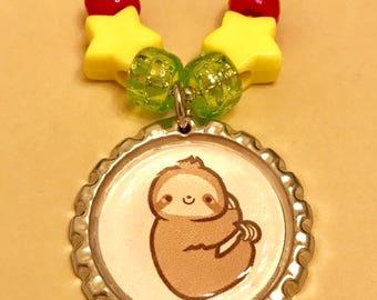 Cute sloth  bottlecap necklace