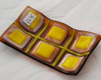 Glass soap dish in amber tones.  Unique, modern, fused glass. Perfect gift. Bathroom or cloakroom.