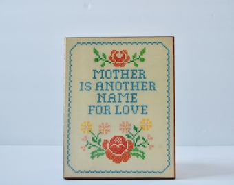 Vintage Gift for Mother's Day - Mother is Another Name for Love - Wooden Plaque - Cross-stitch Design - 1970s Home Decor - Mother's Day Gift