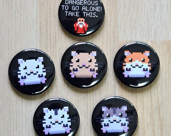 Pixel Hamster magnet / It's Dangerous To Be Alone Magnet