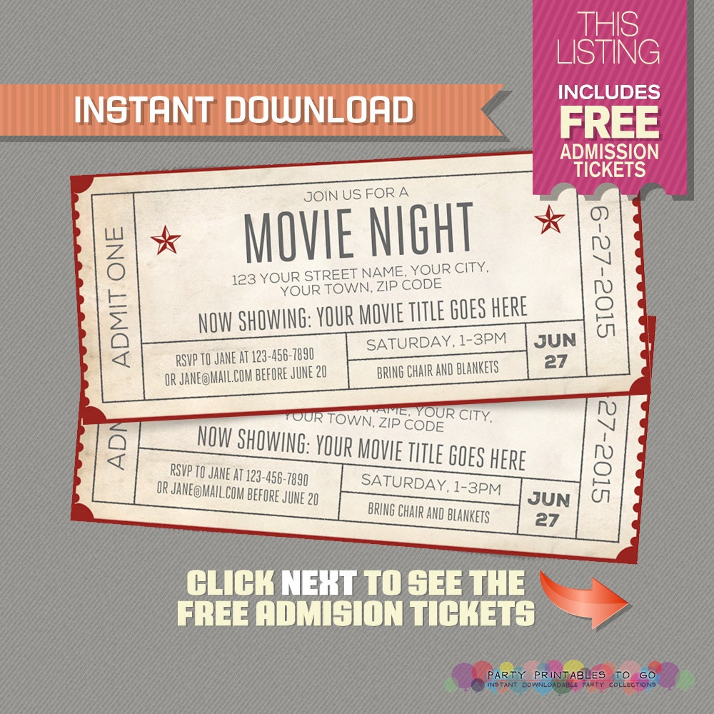 Movie night invitation with free admission tickets movie zoom stopboris