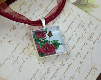 Red Rose Pendant, Red Rose Necklace, Flower Pendant, Flower Necklace, Rose Necklace, Glass Tile Art Pendant, Red Roses