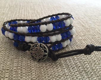 Leather and Bead Wrap Bracelet, Gifts for Her, Kentucky Gift, Bridemaid Gift, Blue and White Bracelet, Gift for Mom, UK Bracelet, Cats Gift