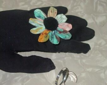 Kanzashi Flower Fabric Adjustable Ring
