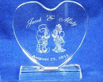 Minnie Mickey Mouse Heart Wedding Cake Topper gravée Crystal - personnalisée gratuite