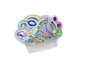 Secret Garden- Pastel color soutache decorative comb, hair comb, decorativi  pettine soutache, dragon fly
