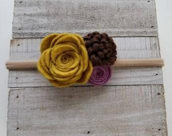 Fall trio felt flower headband