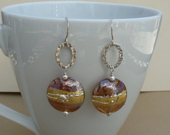 Lampwork Glass Earrings, Gold Lampwork Beads, Artisan Earrings, Gold Glass Earrings, Lampwork Lentil Beads, Mothers Day Gift Ideas