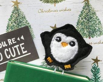 Felt Penguin Paper Clip, Planner Clip, Planner Accessory, Paper Clip, Felt Paper Clip, Feltie Paper Clip, Penguin, Christmas Planner Clip