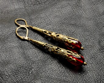 Gothic Earrings Gothic Jewelry Crimson Red Earrings Filigree Dangle Earrings Brass Steampunk Jewelry By Victorian Curiosities