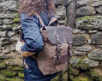 Canvas and Italian Leather Backpack - CanvasRucksack - Brown Leather Laptop Backpack - Leather Backpack - Brown Canvas Backpack - Travel Bag
