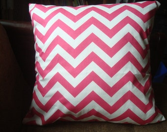 Candy Pink and White Premier Prints Chevron Pillow Cover