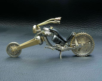 """SOLD Custom Orders Only  Chopper III -- Desk  Sculpture- """"Fat Boy"""" Motorcycle made from watch parts and other found objects."""