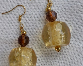 Pale yellow earrings transparent