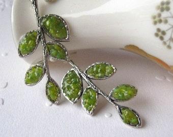 Branch Earrings, Leaf Branch Earrings, Olive Branch Earrings. Green Leaf Earrings, Stained Glass Leaf