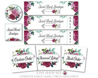 Etsy Cover Set,Shop Cover,Sale & Away Covers,Listing Graphics,Shop Icon,Profile Image-Floral,Arrow-Burgundy,Jade,White-Etsy Storefront