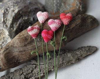 Five pink Flower hearts, Wedding Decoration, valentine gift, book-marker, crochet art
