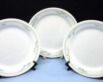 "Lot of 3 Corelle BLUE WREATH Salad Plates 7-1/4"" Retired Microwavable USA Excellent Condition"
