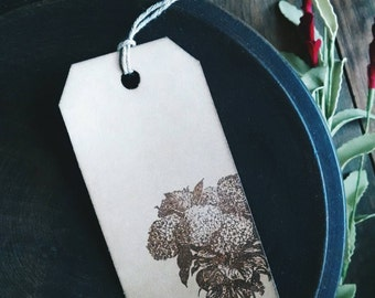 """Summer Hydrangea- set of 12 handstamped gift tags, floral gift tags, sized 3 3/4"""" x 1 7/8"""""""