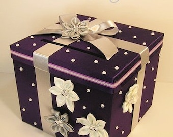 Wedding Card Box Purple and silver Gift Card Box Money Card Box Holder-Customize your color