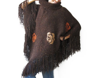 Plus Size Over Size Hand Knitted Poncho by Afra