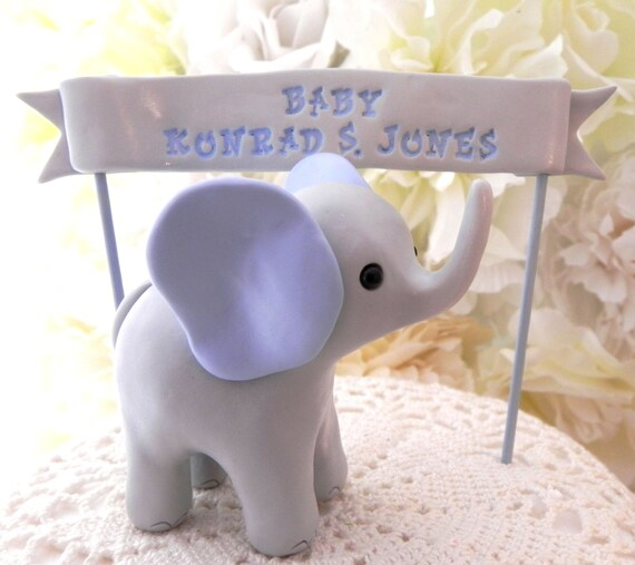 Baby Shower Cake Topper, Gray and Blue Baby Boy Elephant  and Banner, New Mommy Gift, Keepsake, Nursery Decor