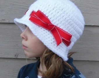 White Flapper Hat with Red Ribbon