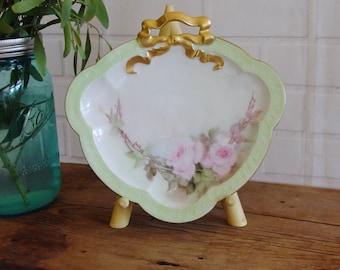 Antique Philip Rosenthal & Company, Porcelain China Plate, 1800's, Bavaria Carmen Plate, Vintage Bavarian Plate, Gilt Floral Pink Green Rose