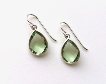 Green Amethyst Earrings, Green Amethyst Silver Earrings, Light Green Tear Drop Earrings, Green Amethyst Sterling