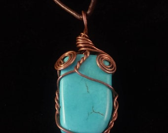 Handcrafted wire-wrapped Howlite Turquoise Necklaces