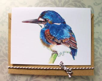 Kingfisher CARD. Blank inside