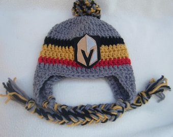 Crocheted Vegas Golden Knights Inspired or (Choose your team) Baby Beanie/Hat - Made to Order - Handmade by Me
