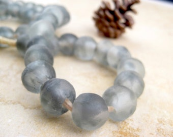 Grey Recycled Glass Beads: World's Most Eco-Friendly Beads! Ghana Beads - African Beads - Wholesale Glass Beads - Made of Bottles 660