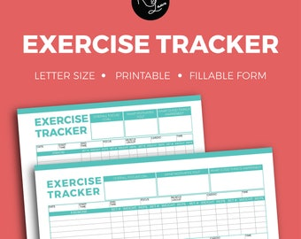 Exercise Trackers + Editable + Fillable + Printable + Household + Organization + Tracker + Notes + To Do + Coach + Organize + Fitness