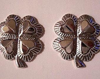 Four Heart Clover Flower Leaf Pierced Post Stud Earrings Silver Tone Vintage Avon Scalloped Leaf Petals Ribbed Edges