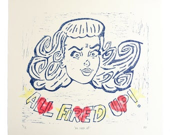All Fired Up Linocut Print, Retro Girl Lino Print, Large Linocut Print, Retro Wall Art, Lino Print, Handmade Lino Print, Girl Power Print