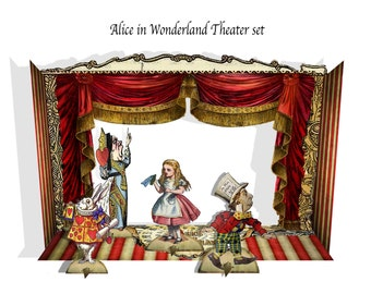 Alice in Wonderland printable paper Theater with characters DIY instant download  printable paper and Party supplies